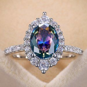 *NEW 925 Sterling Silver Mystic Topaz Halo Ring